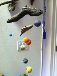 felted planet mobile